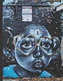 Notebook: Urban Street Graffiti Portrait on Brick Wall Cover / College Ruled 8.5x11 Letter Size / 120 Blank Lined Pages for Back To School / Work / Journaling / Writing / Note Taking