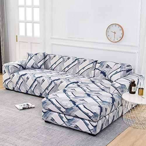 YANJHJY 1/2 Fundas elásticas para sofá de Esquina, para Sala de Estar, Fundas de sillón, sofás con Chaise Longue, color7, 2 plazas y 3 plazas
