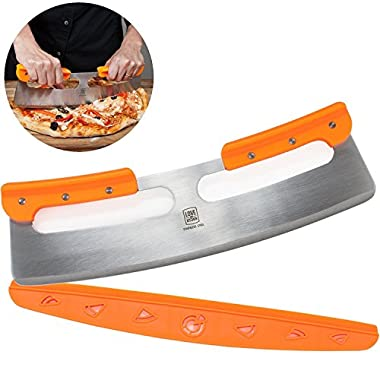 The Ultimate 14  Pizza Cutter / Slicer, Rocker Style. Very Sharp Knife Blade with Protective Cover / Sheath. Unique Design Provides a Safer Grip than a Mezzaluna Chopper. Premium HQ Stainless Steel