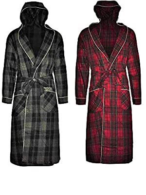 Andrew Scott Mens 2 Pack Long Robe / 100% Cotton Flannel Brush Warm Hooded Bathrobe