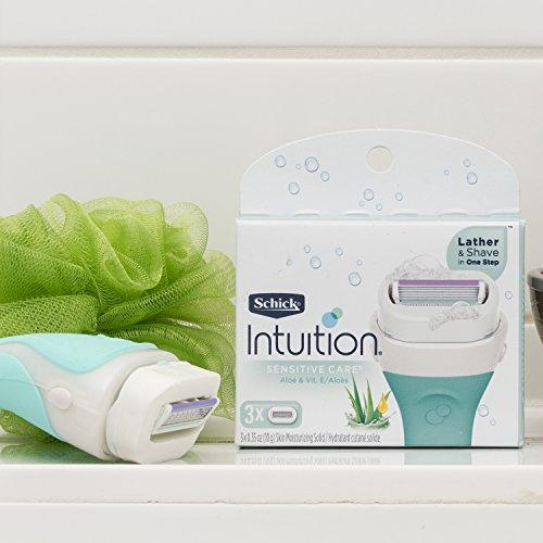 Schick Intuition Sensitive Skin Womens Razor Refills with Vitamin E & Aloe, Pack of 3