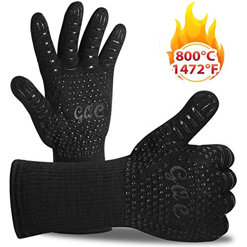 GQC BBQ Grill Gloves, Heat Resistant Oven Gloves Up to 1472℉/ 800℃ Barbecue Cooking Mitt with EN407 Certified and Silicone Grip for BBQ, Grill, Cooking, Baking, Welding, Black (1 Pair)