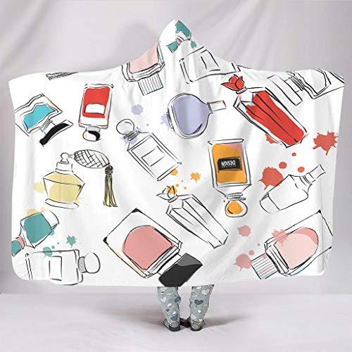 Fineiwillgo Juego de sudadera con capucha con diseño de bloques de colores y efecto artístico, de microfibra, supersuave, para adolescentes, sofá o sillón de salón, color blanco, 150 x 200 cm