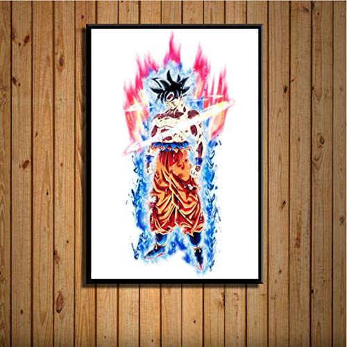 zpbzambm Frameless Painting 50X70Cm Dragon Ball Super Goku Ultra Instinct Japan Anime Art Painting Canvas Poster Wall Home Decoration Artwork,Aq-2138