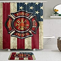 WOTAKA シャワーカーテン バスマット 2点セット 消防士の旗 自家 寮用 ホテル 間仕切り 浴室 バスルーム 風呂カーテン 足ふきマット 遮光 防水 おしゃれ 12個リング付き