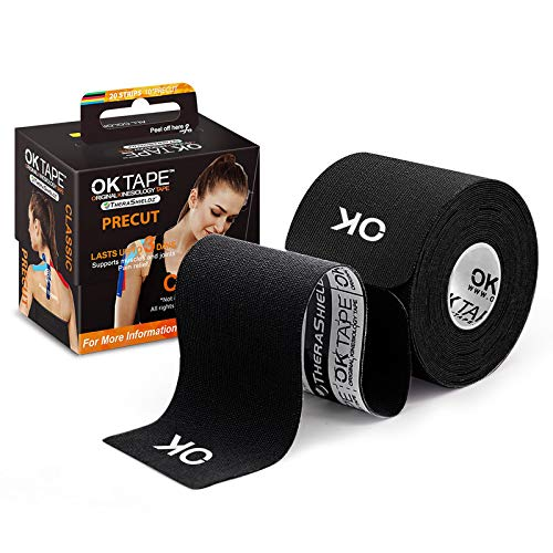 OK TAPE Sports Kinesiology Tape - 20 Strips Precut Latex Free Waterproof Athletic Tape for Pain Relief, Supports and Stabilizes Muscles & Joints Lasts Upto 3 Days- 2inch x 16.4 feet Roll Black