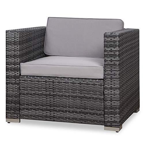 SVITA Sessel für Polyrattan Lounge Lugano/California Ergänzung Rattan (Grau)
