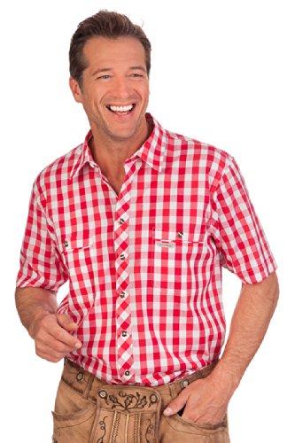Spieth & Wensky H1418 - Trachten Herren Hemd mit 1/2-Arm - STRAUBING - rot, grün, blau, Größe 35/36 (XS)