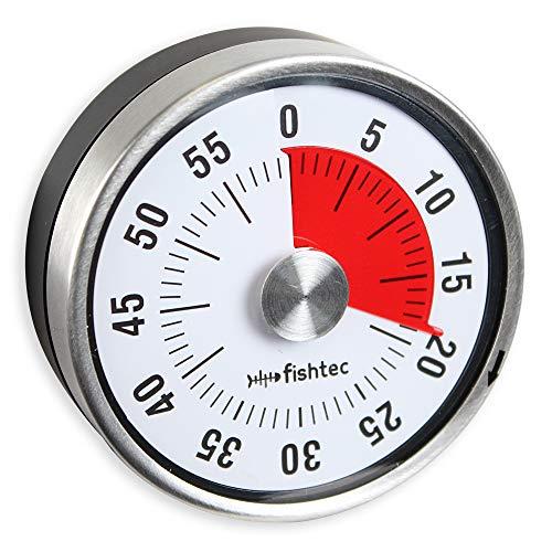 FISHTEC ® Minuteur Mécanique de Cuisine - Inox - Magnétique - Ø 8 X 3.5 cm