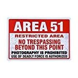dingleiever-Area 51 Metal Wall Sign Plaque Warning, Alien, Conspiracy Theory - 8x12 inch