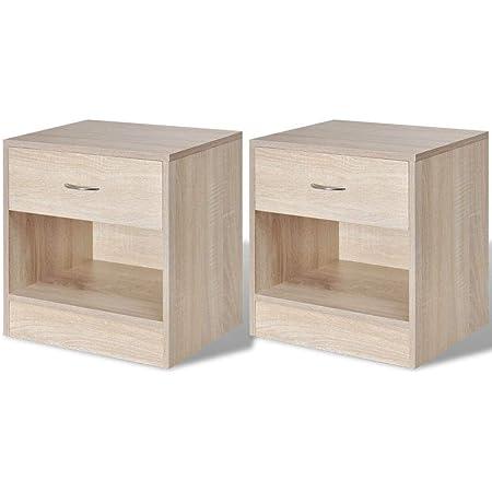 vidaXL 2 Tables de Chevet avec tiroir Table de Nuit Support de téléphone chêne