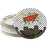Comic Book Hero Paper Plater for Kids Birthday Party (9 x 9 Inches, 80...