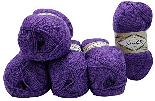 Alize 5 x 100 g Glitzerwolle SAL zum Stricken und Häkeln, 500 Gramm Metallic – Wolle (lila 44)