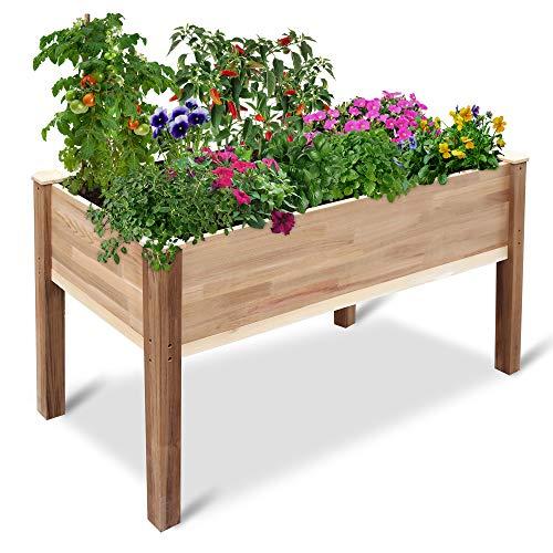 Jumbl Raised Canadian Cedar Garden Bed   Elevated Wood Planter for Growing Fresh Herbs