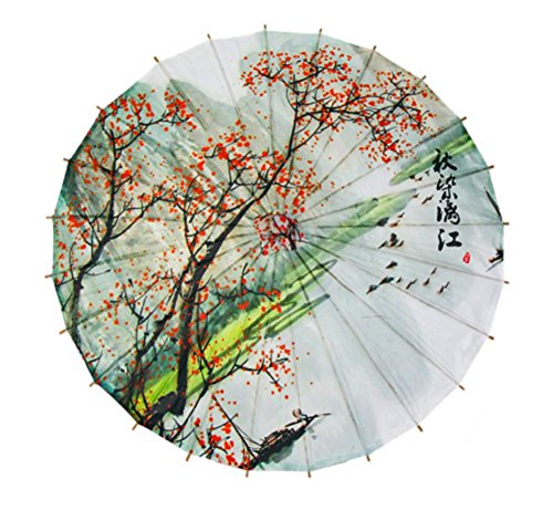 GODHL Bambou chinois Oriental parapluie Parasol classique Dance Umbrella Plum Blossom