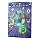 簡素な雑貨屋 World Cup メタルプレート アンティーク な ブリキ の 看板、レトロなヴィンテージ 金属ポスター 、40x30cm