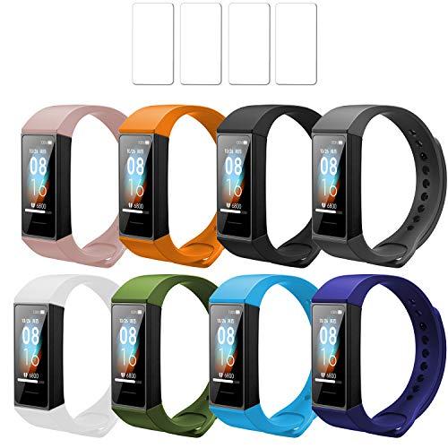 Ferilinso Bracelet 8 Pieces Straps untuk Xiaomi Mi Band 4C + 4 Pack Pelindung Layar, Penggantian Gelang Tali Silikon ...