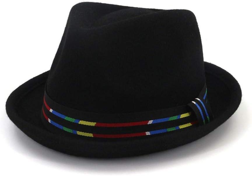 ZLQQLZ Women Cap Unisex Men Women Fedora Hat with Striped Belt Wedding Hat Party Hat for Women Panama Jazz Hat Hat (Color : Black, Size : 56-58)