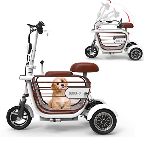 WLY Bicicleta eléctrica Plegable de Tres Ruedas para Adultos Mayores Mini vagón Exterior 48V20A Scooter eléctrico de Litio Independiente Colgando Rueda Trasera duración de la batería (60-70KM),White