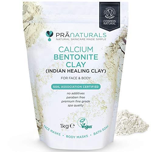 PraNaturals Máscara de arcilla bentonita de 1 kg, limpieza profunda natural de poros Montmorillonite, calcio activo, máscara de arcilla pura, 100% orgánico antienvejecimiento y curación facial