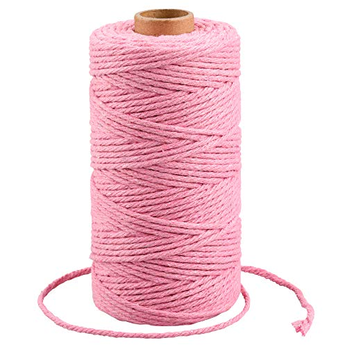 Macrame Cord 3mm,Pink Cotton Bakers Twine String,328 Feet Christmas Gift Twine String,Cotton Cord for Crafts,Knitting