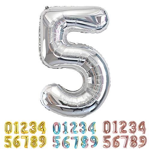 Ponmoo 34pouces Ballon Chiffre 5 Argent, 5 Ballon Age Gonflable Anniversaire, Ballons Numéro Anniversaire Chiffres Ballon 5 Argent