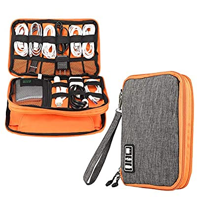 Electronics Accessories Organizer,Double Layer Waterproof Cable Organizer Bag,Multifunction Travel Gadget Bag Storage Cables, USB Flash Drive,iPad Mini and More by XW-Trade