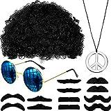 Gafas de Sol Peluca Afro de Hippie Bigote Collar de Signo de La Paz para Fiesta de Tema Retro