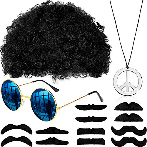 Parrucca Afro Hippie Occhiali da Sole Collana con Segno di Pace Baffi per Festa a Tema Retrò