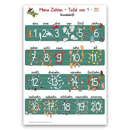 Meine Zahlen-Tafel von 1-20 in Grundschrift: Lernposter DINA 3 laminiert