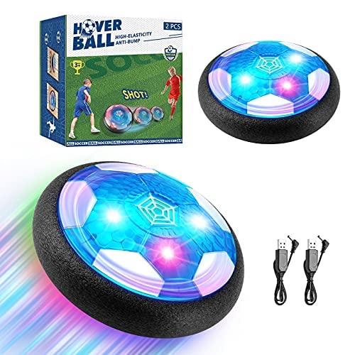 EXTSUD Air Power Fußball Kinderspielzeug, 2 Teilige Wiederaufladbar Hover Soccer Ball Fussball mit LED-Licht Schaum Stoßstangen Geschenke für Junge Mädchen Spiel Sport Indoor Outdoor