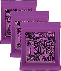 Paquete de 3 práctico y de gran valor. Calibres .011, .014, .018p, .028, .038 y.048. Las cuerdas eléctricas Power Slinky son un complemento perfecto para aquellos que disfrutan los ritmos robustos del rock and roll o el blues.