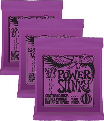 Ernie Ball Power Slinky Nickel Wound Sets.011 - .048, Bundle of 3 Sets
