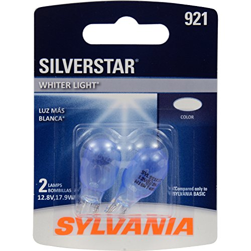 SYLVANIA - 921 SilverStar Mini Bulb - Brighter and Whiter Light, Ideal for Center High Mount Stop Light (CHMSL) and more (Contains 2 Bulbs)