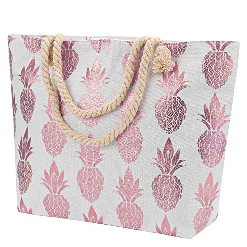 Large Women Tote Bag with Inner Pocket Premium Canvas Pineapple Pattern Shoulder Bag Closure Top Zipper Cotton Rope Handles for Summer Beach Shopping Holiday Work Travel [Rose Red]