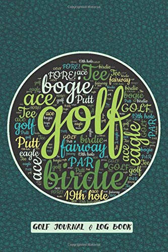 Golf Journal & Log Book: Track and Improve Your Game In 12 Weeks | Typography Art in Golf Ball Shape on Cobalt Blue Faux Leather Design