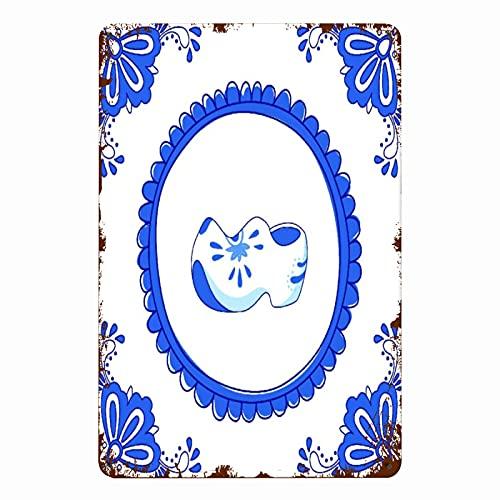 ADONINELP Letreros de metal Azulejo azul con un par de zapatos típicos holandeses, cartel de chapa, pintura de hierro para pared, decoración de pared, arte, placas retro, cartel, placa colgante, rega