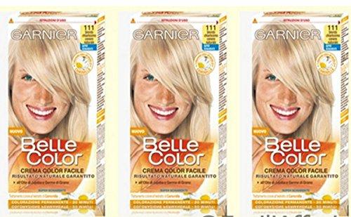 3 X Garnier Belle Color 111 Biondo Chiarissimo Cenere Tintura per capelli Donna