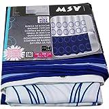 MSV Duschvorhang aus Polyester 180x200cm in blau/weiß, 30 x 20 x 15 cm