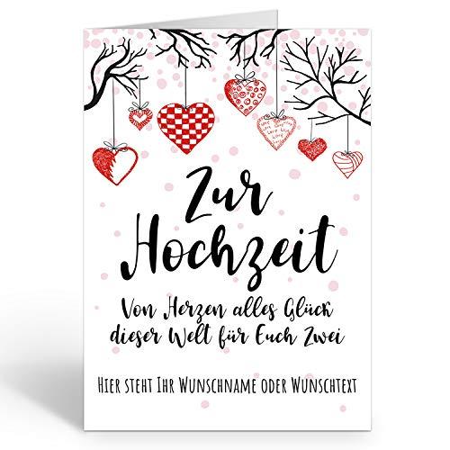 Große Glückwunschkarte zur Hochzeit XXL (A4) PERSONALISIERT - Herzen modern Vintage - mit Umschlag/Edle Design Klappkarte/Hochzeitskarte/Glückwunsch/Extra groß für viele Unterschriften/