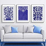 QZROOM Jarrón de Flores Azul Abstracto Pinturas Impresas en Lienzo Pop Wall Art Pictures Poster sobre Lienzo Regalo del día de la Madre Sala de Estar Decoración para el hogar-50x70cmx3Pcs-Sin Marco