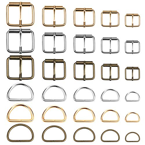LOPOTIN 36PCS Anillas en Forma D Hebillas de Metal, Hebilla Metal Bricolage, Hebillas Metálicas Deslizantes, Cinturón Ajustable Anillos Bolsos para Reparar y Hacer Cuerda de Bolso y Mochila DIY.