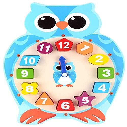 ZXW Cartoon Dier Digitale Klok Speelgoed Houten Puzzel Kikker Vorm Uil Vorm Kleuters Kinderen Lesgeven Uil