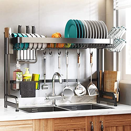 Dish Drying Rack Over The Sink - Adjustable Large Dish Rack Drainer for Kitchen Organizer Storage Space Saver Shelf with Utensil Holder Cups Rack and 5 Mobile Hooks, Stainless Steel ( Color : Black )
