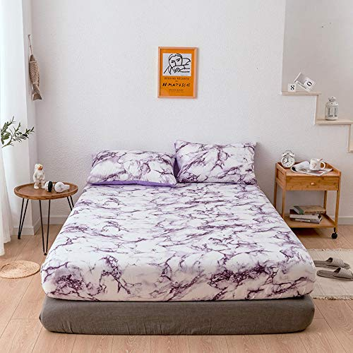HPPSLT Protector de colchón, algodón, poliéster, Funda Protectora de sábana Antideslizante-Violeta_198 * 203 * 35cm