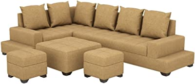 Three+ Brown Sal Wood 6 Seater L-Shaped Sofa Set for Living Room