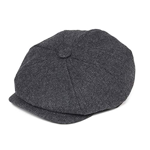 BOTVELA Men's 8 Piece Wool Blend Newsboy Flat Cap Herringbone Pattern in Classic 5 Colors (Black, L)