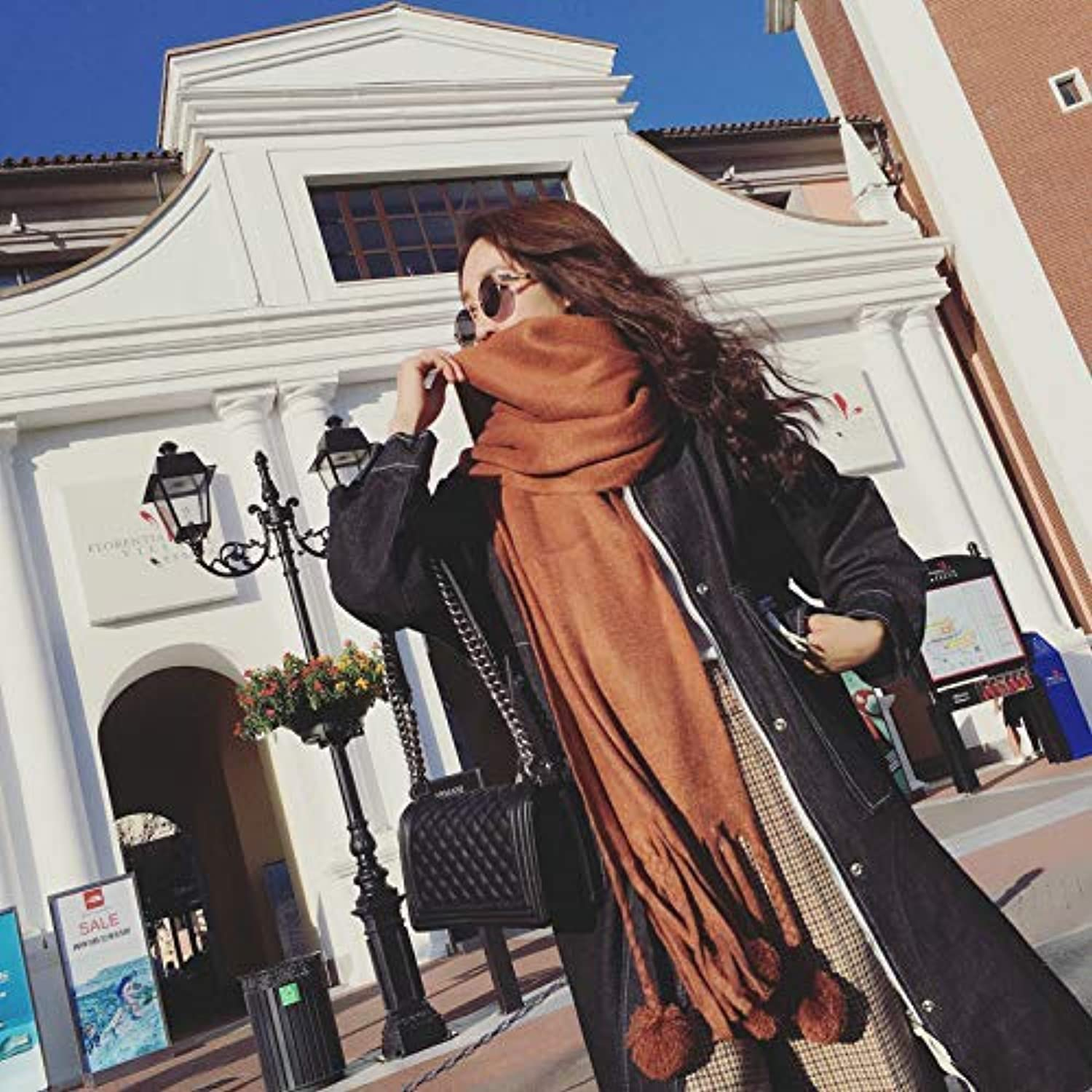Warm Winter Scarf Autumn and Winter Long Tassel Ball Scarf Female Winter Wild Fashion Thick Warm Tide Ladies Scarf (color   Brown) Neck Scarf