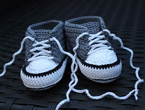 Babyschuhe Häkelschuhe grau neutral gehäkelt Babychucks Babysneakers für Neugeborene Mädchen Jungen unisex