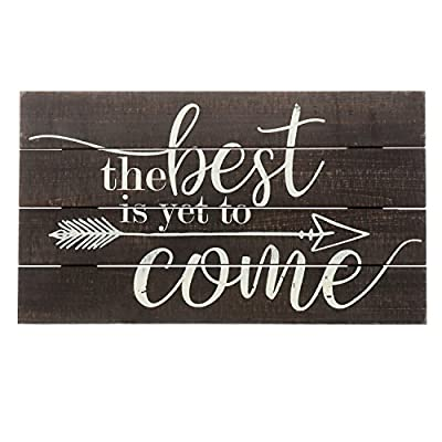 """Barnyard Designs The Best is Yet to Come Rustic Wood Hanging Sign Decorative Wall Decor 17"""" x 10"""""""